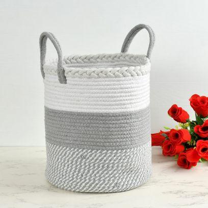 Grey and White Criss Cross Pattern Cotton Storage Basket