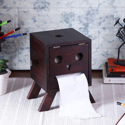 Brown Wooden Tissue Holder