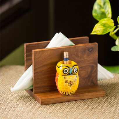 Dark Brown and Yellow Colour Tissue and Toothpick Holder