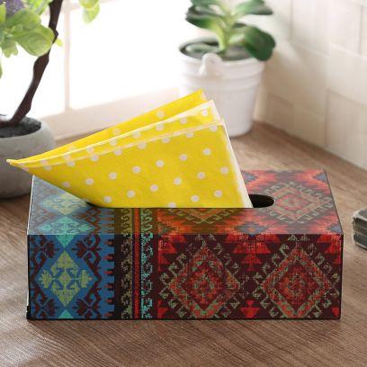 Kilim Wooden Tissue Paper Box
