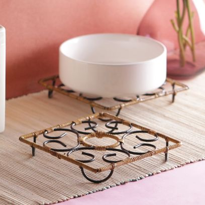 Bamboo Square Small Trivets - Set of 2