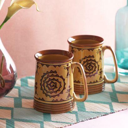 Camel Brown Warli Stoneware Beer Mugs - Set of 2
