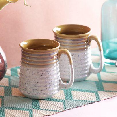 White Mustard Stoneware Beer Mugs - Set of 2