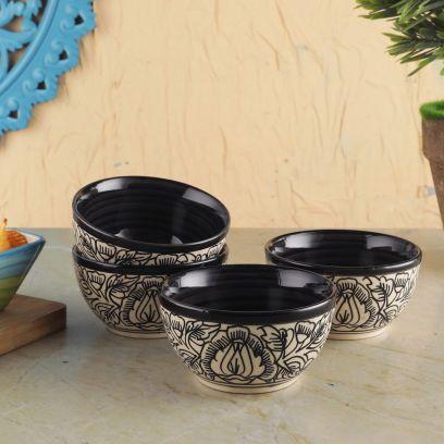Black White Kalamkari Ceramic Veg Bowls - Set of 4