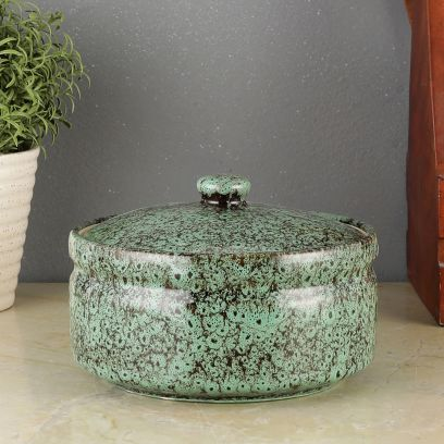 Green Foliage Ceramic Serving Bowl With LID