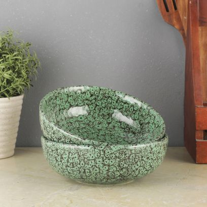 Green Foliage Ceramic Serving Bowls - Set of 2