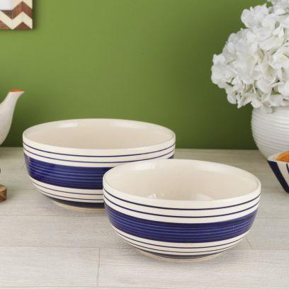 Indigo Blue Ceramic Stripes Serving Bowls - Set of 2