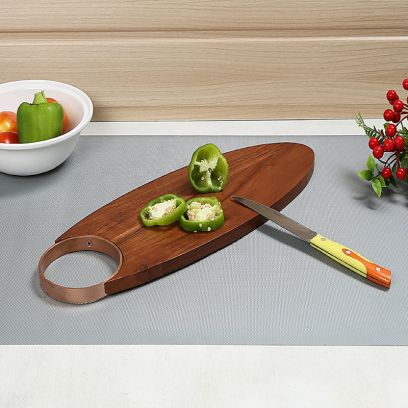 Side Metal Handle Platter in Mango Chopping Board