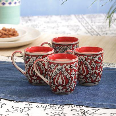 Hand Painted Red Mughal Ceramic Coffee Mugs - Set of 4