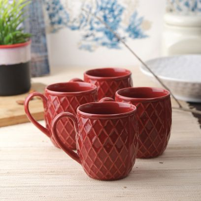 Purple Berry CrisCross Coffee Cup - Set of 4