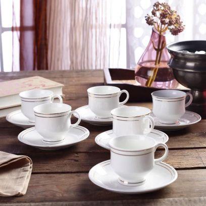 Bone China White 200 ML Cups & Saucers Set of 6