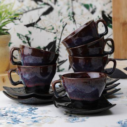 Brown Studio Ceramic Cups and Saucers - Set of 6