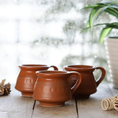 Ceramic Brown 100 ML Cups - Set of 6
