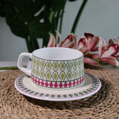 Mirage Ceramic Cups and Saucers - Set of 6