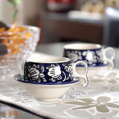 Mughal Blue Ceramic Cups and Saucers - Set of 6