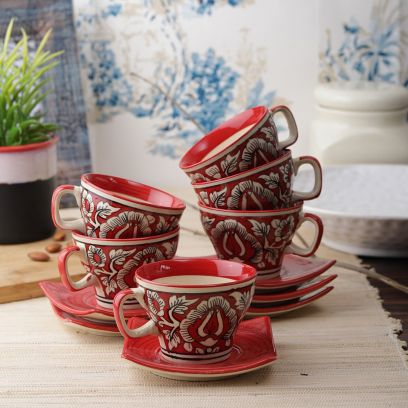 Red Mughal Ceramic Cups and Saucers - Set of 6