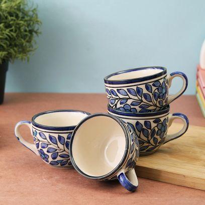 Spring Blue Ceramic Tea Cups - Set of 4