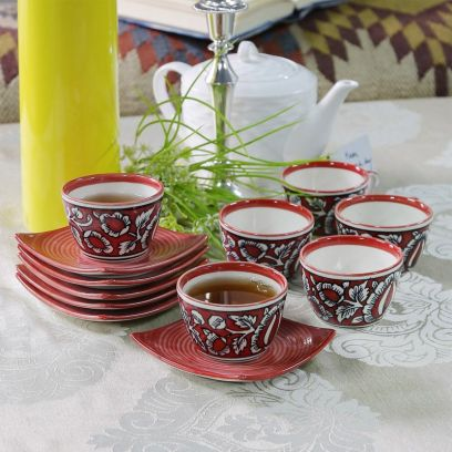 Stoneware Red 150 ML Cups & Saucers Set of 6
