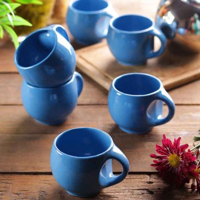 Turquoise Blue Round Tea Cups - Set of 6