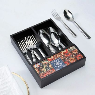 Black Multipurpose Wooden Cutlery Holder