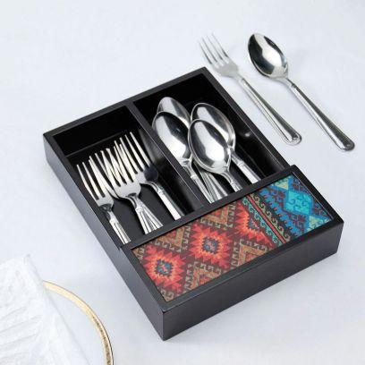 Black Wooden Cutlery Holder