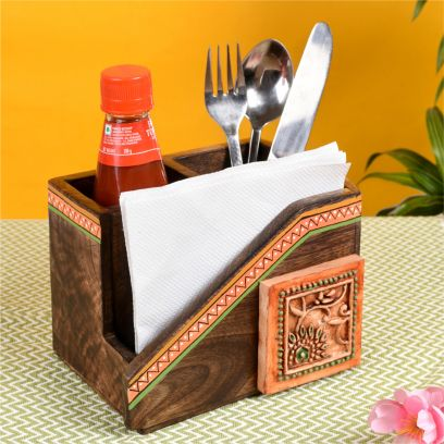Brown colour Wooden Handcrafted Cutlery Holder