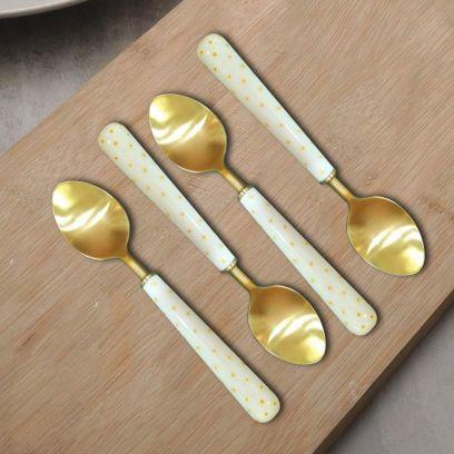 Golden and White Polka Dot Flatware Stainless Steel Dinner Spoons - Set of 4