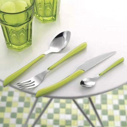 Green Stainless Steel 24-Piece Eclat Cutlery Set
