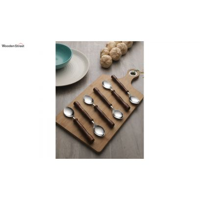 Hand-Made Stainless Steel and Wooden Dessert Spoons - Set of 6