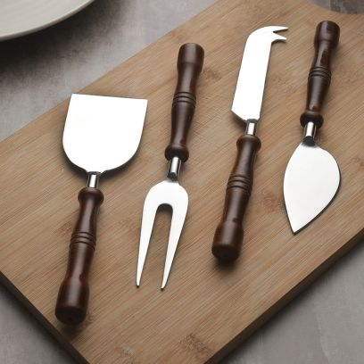 Hand-Made Wooden and Stainless Steel Cheese Knives Set of 4