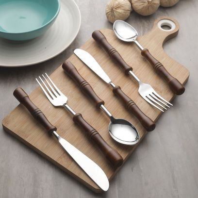 Hand-Made Wooden and Stainless Steel Cutlery Set -Set of 6