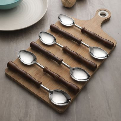 Hand-Made Wooden and Stainless Steel Spoons Set of 6
