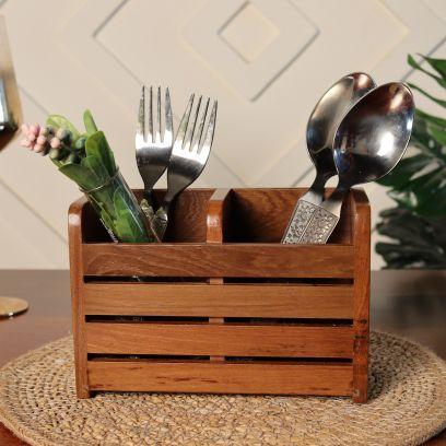 Light Brown Wooden Cutlery Holder