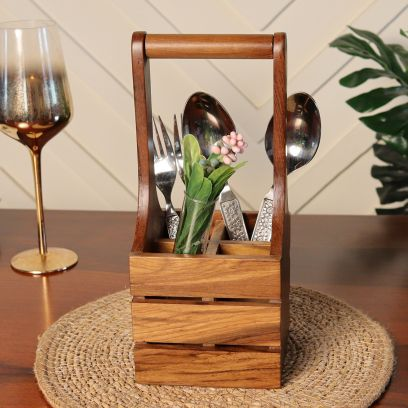 Light Brown Wooden Small Cutlery Holder