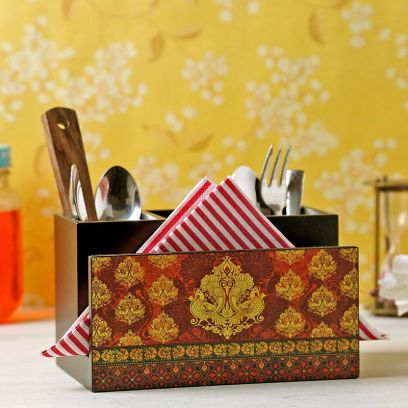 Red MDF Wood Cutlery Holder