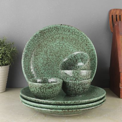 Foliage Green Ceramic Dinner Set - Set of 8