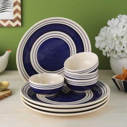 Indigo Blue Stripes Ceramic Dinner Set - Set of 8