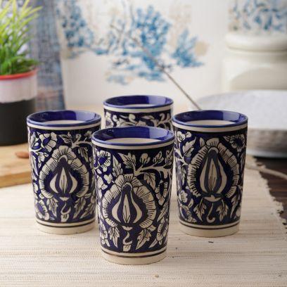 Blue Mughal Ceramic Glasses - Set of 4