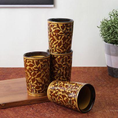 Brown Mughal Ceramic Glasses - Set of 4