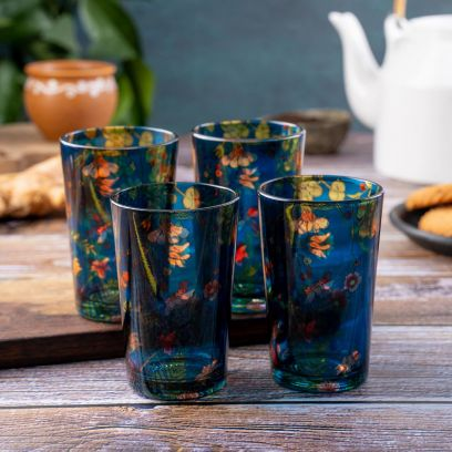 Floral Bliss Chai Glasses - Set of 4