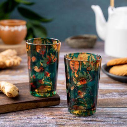 Sanguine Sunflower Chai Glasses - Set of 2