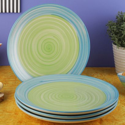 Blue and Green Ananda Ceramic Plates - Set of 4
