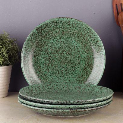 Green Foliage Ceramic Plates - Set of 4