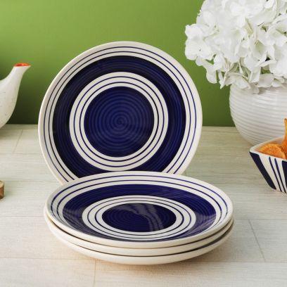 Indigo Blue Stripes Ceramic Dinner Plates - Set of 4