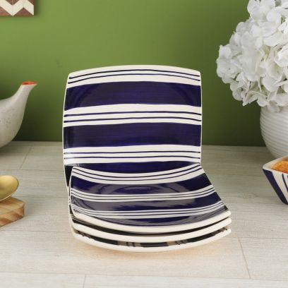 Indigo Blue Stripes Ceramic Plates Cum Platters - Set of 4