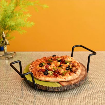 Brown Colour Round Shape Pizza Server Platter With Metal Handles