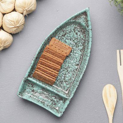 Green Foliage Ceramic Boat Shaped Platter