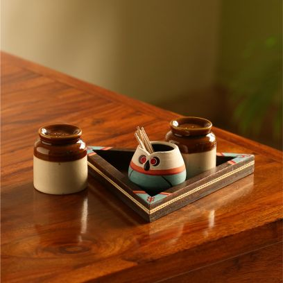ceramic salt and pepper shakers set with tray online in bangalore, mumbai
