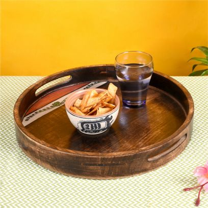 Brown Colour Tribal Art Round Shape Handpainted Wooden Tray