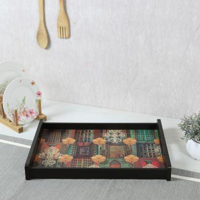 Brown Digital Haveli Print Medium Tray
